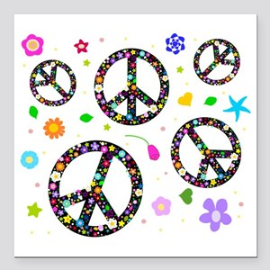 """Peace signs and flowers  Square Car Magnet 3"""" x 3"""""""