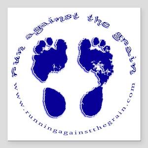 "runagainstthegrain_footp Square Car Magnet 3"" x 3"""