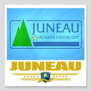 "Juneau (Flag 10) Square Car Magnet 3"" x 3"""
