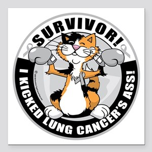 "Lung-Cancer-Cat-Survivor Square Car Magnet 3"" x 3"""