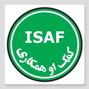 "017_ISAF Square Car Magnet 3"" x 3"""