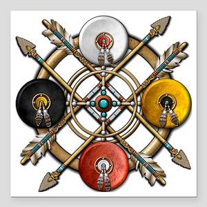 "Medicine Wheel Mandala Square Car Magnet 3"" x 3"""