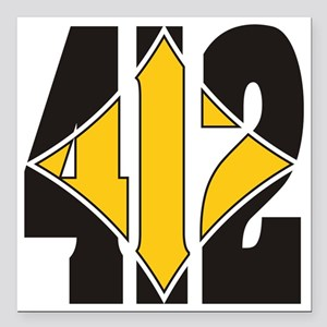 "412 Black/Gold-W Square Car Magnet 3"" x 3"""