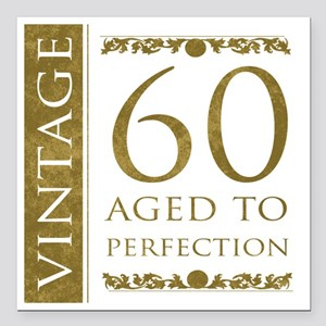 "Fancy Vintage 60th Birth Square Car Magnet 3"" x 3"""