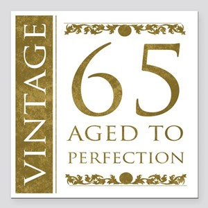 "Fancy Vintage 65th Birth Square Car Magnet 3"" x 3"""