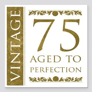"Fancy Vintage 75th Birth Square Car Magnet 3"" x 3"""