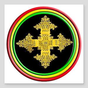 """ethipia cross rasta perf Square Car Magnet 3"""" x 3"""""""