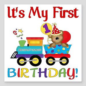 "first birthday train Square Car Magnet 3"" x 3"""