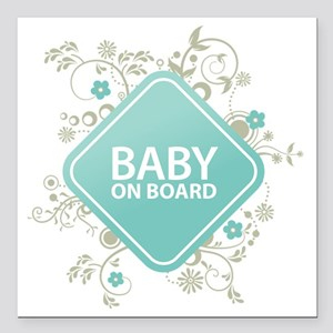 "Baby on Board - Boy Square Car Magnet 3"" x 3"""