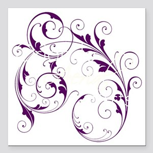 "Purple Scroll - White Fo Square Car Magnet 3"" x 3"""