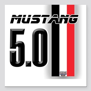 Mustang 5.0 BWR Square Car Magnet