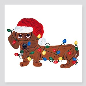Dachshund (Red) Tangled In Christmas Lights Square