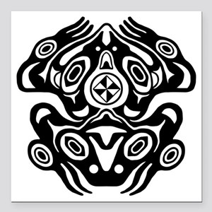 "Native American Frog Square Car Magnet 3"" x 3"""