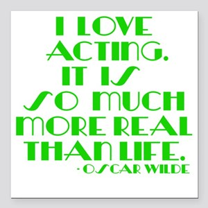 "I LOVE ACTING Square Car Magnet 3"" x 3"""