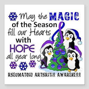 "RA Christmas Penguins Square Car Magnet 3"" x 3"""