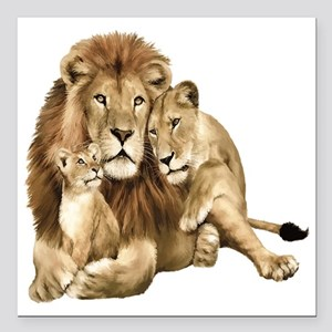 """Lion And Cubs Square Car Magnet 3"""" x 3"""""""