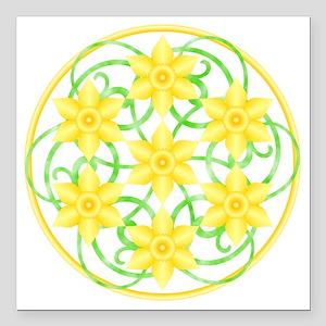 """Daffodils Mandala Square Car Magnet 3"""" x 3"""""""