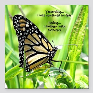 """Thinking Butterfly Square Car Magnet 3"""" x 3"""""""