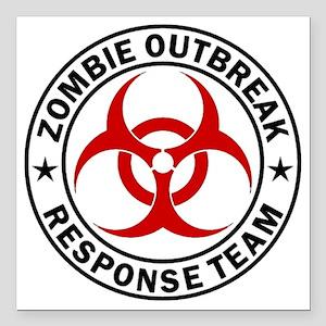 "zombie-response-button Square Car Magnet 3"" x 3"""