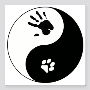 """Cat Therian Ying Yang Square Car Magnet 3"""" x 3"""""""