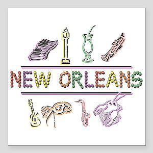 "New Orleans Mardi Gras Square Car Magnet 3"" x 3"""