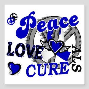 """D ALS Peace Love Cure 2 Square Car Magnet 3"""" x 3"""""""