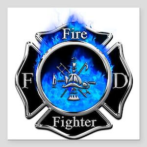 """Firefighter Maltese Cross Square Car Magnet 3"""" x 3"""