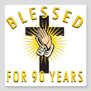 """Blessed90 Square Car Magnet 3"""" x 3"""""""