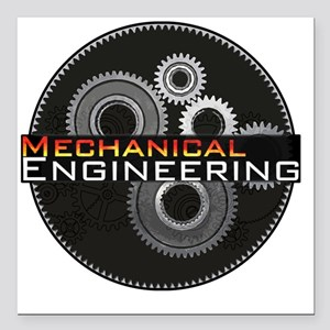 "Mechanical Engineering Square Car Magnet 3"" x 3"""