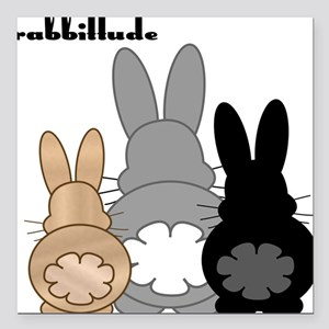 """Rabbittude Posse Square Car Magnet 3"""" x 3"""""""