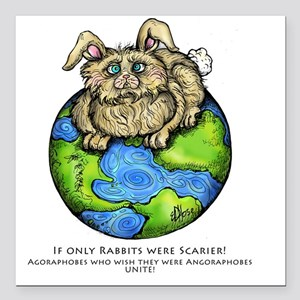 "bunny Square Car Magnet 3"" x 3"""