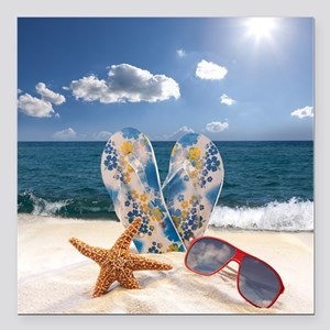 "Summer Beach Vacation Square Car Magnet 3"" x 3"""