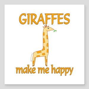 "Giraffe Happy Square Car Magnet 3"" x 3"""