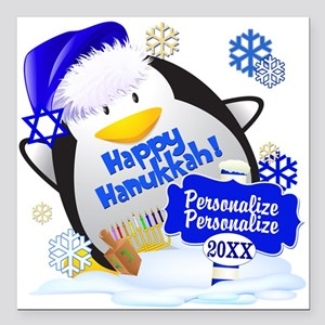 "Happy Hanukkah Square Car Magnet 3"" x 3"""