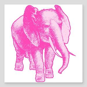 """Pink Elephant Illustrati Square Car Magnet 3"""" x 3"""""""