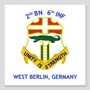 "2nd Bn 6th Inf Gear Square Car Magnet 3"" X 3&"