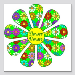"""Cool Flower Power Square Car Magnet 3"""" x 3"""""""