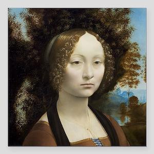 "Leonardo da Vinci - Gine Square Car Magnet 3"" x 3"""