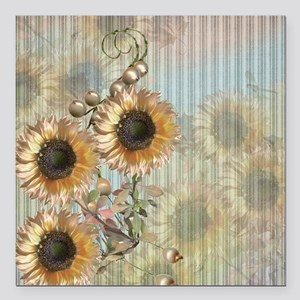 "Country Sunflowers Square Car Magnet 3"" x 3"""