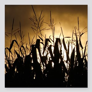 "Corn field silhouettes Square Car Magnet 3"" x 3"""