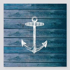 "Anchor on Blue faux wood Square Car Magnet 3"" x 3"""