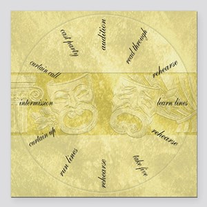 """Theater-Mask-clockLARGES Square Car Magnet 3"""" x 3"""""""
