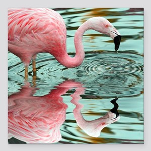 "Pink Flamingo Reflection Square Car Magnet 3"" x 3"""
