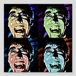 "Dracula Pop Art Square Car Magnet 3"" x 3"""
