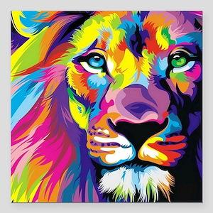 "Leo the trippy lion Square Car Magnet 3"" x 3"""