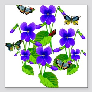 """Violets and Butterflies Square Car Magnet 3"""" x 3"""""""