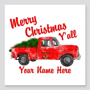 """Merry Christmas Yall Square Car Magnet 3"""" x 3"""""""