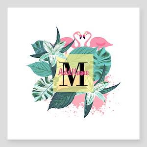 "Personalized Flamingo Mo Square Car Magnet 3"" x 3"""