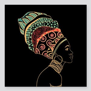 """African Woman Square Car Magnet 3"""" x 3"""""""