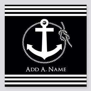 "Black and White Nautical Square Car Magnet 3"" x 3"""